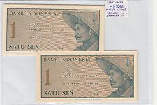 LOTE DE 10 BILLETES DE UN SATU SEN  INDONESIA   ( MB3566 )