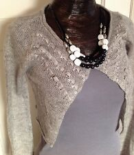 Charlotte Russe Gray Knit Beaded Shrug Sweater - Size Small