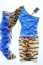 PARTY 21 - Oneshoulder blue leopard bodycon dress + chiffon & chain M/ UK 10