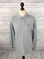 RALPH LAUREN Long Sleeved Polo Shirt - Size Small - Grey - Great Condition