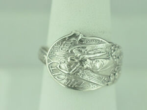 Beautiful 925 Sterling Silver The City Of The Angels Spoon Ring