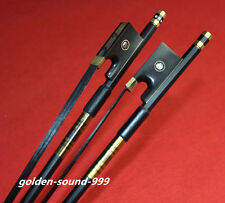 10pcs New light carbon fiber 4/4 violin bow copper parts black horse hair bow
