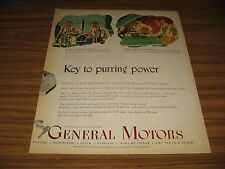 1950 Print Ad General Motors Key To Purring Power Research Engineers in Lab