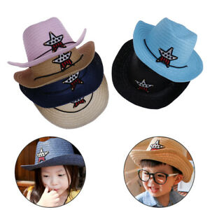 Kids boys girls cowboy summer breathable hat straw sun hat children hatsB^qi