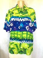 Jams World Sea Tulip Floral Button Down Shirt Top Blouse Short Sleeve Green Blue