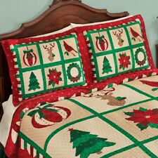 Set of 2 Green & Red Festive Christmas Icons Standard Pillow Shams