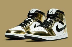 Nike Air Jordan Mid 1 SE Shoes Metallic Gold Black DC1419-700 Men's or GS NEW