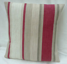 Laura Ashley Designer Cushion Cover AWNING STRIPE Lichen Raspberry Various Sizes