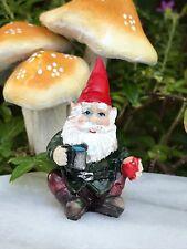 Miniature Dollhouse FAIRY GARDEN Accessories ~ Mini Gnome Figurine w Mug & Apple