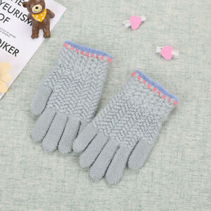 Children's Knitted Warm Thick Gloves With Full Fingers For Girls And Boys