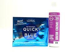 L'OREAL OREOR CREAM 30 VOLUME 8 oz. & QUICK BLUE POWER BLEACH 1 oz set
