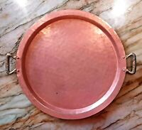 Antique Copper Serving Tray Round - Brass Handles - Hand Hammered