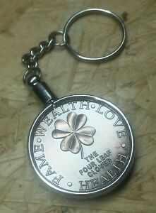 Good Luck Token With Key Ring , The Four Leaf Clover - Horseshoe