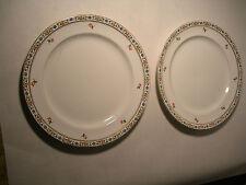 2 John Maddock & Sons Royal Vitreous China Plate Gold Rim Red & Blue Flowers