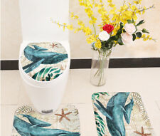 Marine Style 3 Pieces Set Toilet Seat Cover WC Set Sea Turtle Printed Bathroom M
