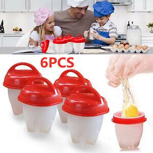 6 Pack Egg Trays Silicone Egg Boiler Hard & Soft Egg Maker Egg Cooking Molds