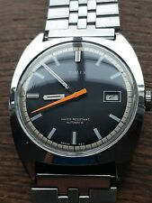 Rare Superb Timex Divers Style Black Dial Mens Vintage Watch Fully Serviced&...