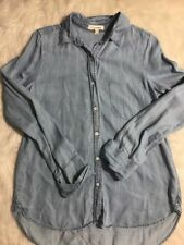 LIFE IN PROGRESS Blue Cotton Lyocell Chambray Button Front Shirt Blouse Sz S