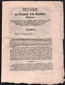 Bando messaggio di Napoleone III sulla situazione politica della Francia 1850