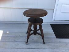 Antique Chas. Parker Co. Adjustable Piano Stool w/ Glass Ball Claw Foot