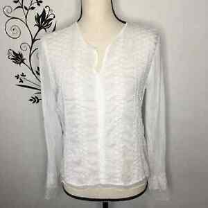 J. Jill boho embroidered white blouse hippie womens small