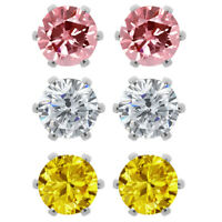 Set of (3) 6mm Round Cubic Zirconia Pink, Yellow and White CZ Stud Earrings
