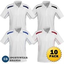 New listing 10 x Mens Polo Shirt Top Sports Cool Team White Contrast Cricket Stretch P244MS