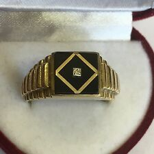 Solid 9ct Yellow Gold Hallmarked Men's Onyx & Diamond Ornate Signet Ring Size V