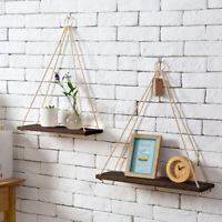 Wooden Floating Shelf Wall Hanging Display Rack Storage Rope Shelves Home Decor