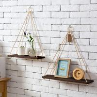 Wooden Floating Shelf Wall Hanging Display Rack Storage Rope Shelves Home