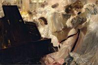 THE BLACK BALL DANCE PIANO MUSIC 1903 PAINTING BY JOSEPH MARIUS AVY REPRO
