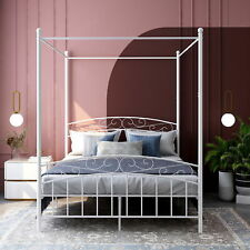 Metal Canopy Bed Frame with Headboard and Footboard Sturdy Slats Easy Assembly