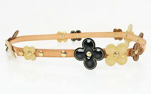 Authentic LOUIS VUITTON Pink, Purple and White Vernis Fleur Flower Belt #21025
