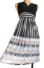 Black/ white STRIPES dress UK size 12 sleeveless Stretch BLACK jersey fabric
