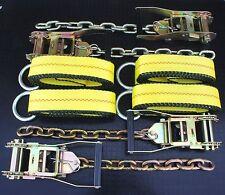 4x Chain Ratchet & 12' Lasso Strap Tow Truck Flatbed Wrecker Car Hauler Tie Down