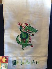 "New Nancy Wolff for Peking Handicraft ""Fa La La La La"" Alliagtor Christmas Linen"