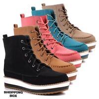 Scarpe donna SCARPONCINI Boots stivaletti sneakers sportive allacciate zeppa 4