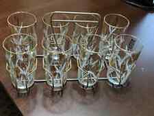 Set of 8 Vintage Glasses With Carrier Caddy