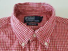 Ralph Lauren Custom Fit Herren Hemd Kurzarm Rot/Weiß Kariert Gr. S / 14
