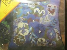 New ListingVintage 1972 Columbia Minerva Pansies Needlepoint Pillow Kit Blue Flowers New