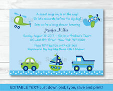 Car Truck Boat Plane Helicopter Printable Baby Shower Invitation Editable PDF