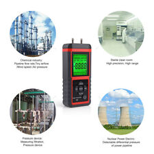 Digital Manometer Dual-port Differential Air Pressure Meter LCD Gauge High KPA