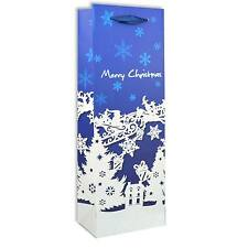 1 Bottle Bag Christmas Wine Bottle Gift Bag Blue Decorative Glitter Paper Bag
