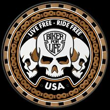 Live Free Ride Free 3 Sculls Patch Aufnäher Backpatch 22,5cm XL Kutte,Biker MC