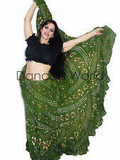"Heena Green Polka Dot Tribal gypsy 25 yards  belly dance cotton skirt ATS L37"""
