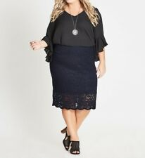 Plus Size Autograph Pull on Stretch Lace Navy Blue Skirt Size 24 Post