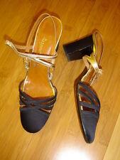 Art Deco 50's dancing shoes sling heel strappy pumps black satin gold lame' 6 B