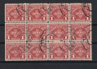 united states 1 dollar postage due used stamps block  ref r11285