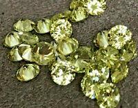 PERIDOT GOLDEN GREEN  CUBIC ZIRCONIA 1mm - 12mm ROUND AAA LOOSE STONES