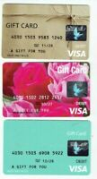 Credit Debit Charge Gift Cards - LOT of 3 Diff / Roses - Zero Balance / No Value